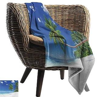 Outdoor Blanket,Ocean,Cartoon Style Underwater World Plants and Evil Shark Chasing Little Fish Illustration,Multicolor,Super Soft Faux Fur Plush Decorative Blanket 50'x60'