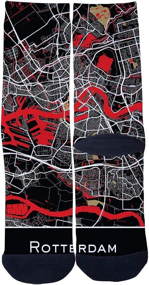Rotterdam Netherlands Map Print Socks Mens Womens Casual Socks Custom Creative Crew Socks