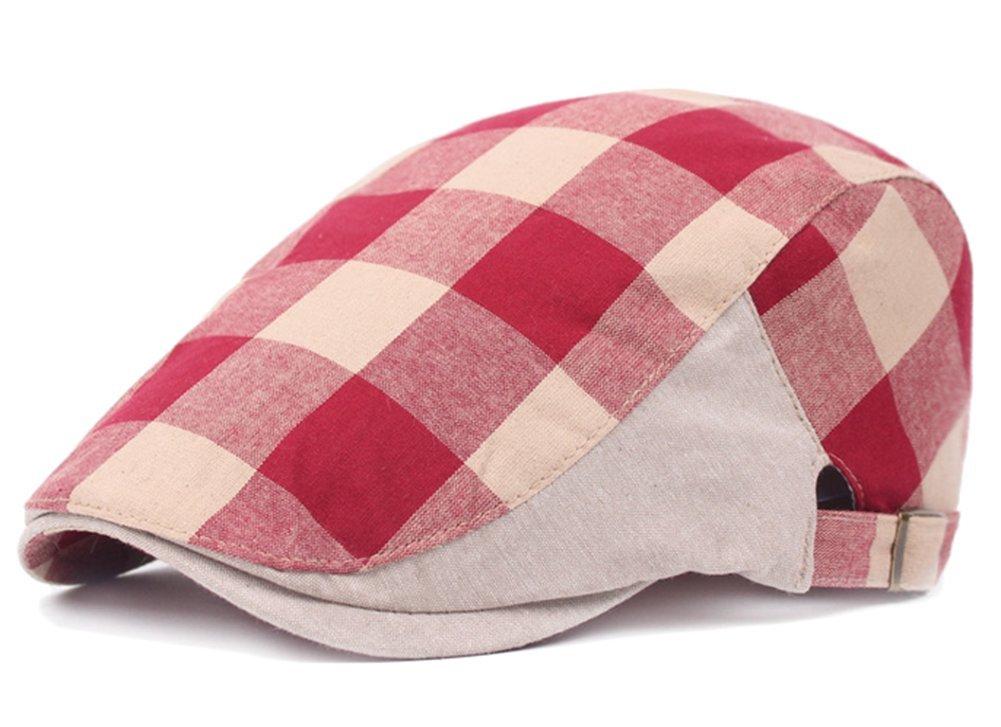 Dosige Boina de algodó n y lino, Gorras para hombres y mujeres, Sombrero al aire libre, Boina a cuadros, Sombrero de turista size 55-60cm (rojo)
