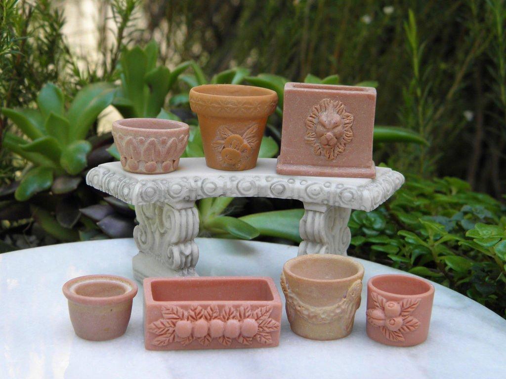 CHSGJY Set of 7 Assorted Pots Miniature Dollhouse Fairy Garden Accessories