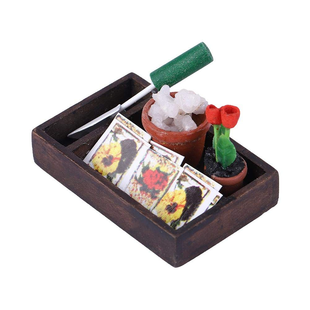 Tnfeeon 1:12 Dollhouse Miniature Horticulture Box Mini Decor Gardening Box Kids DIY Accessories Farming Tools Model Garden Tools