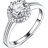 Olrla 1.0ct Round Cut D Color Moissanite Diamond Wedding Engagement Ring for Women Ladies, Platinum Plated Silver, US Size 6/7/8, Gift Boxed for Mothers Day