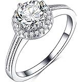 Olrla 1.0ct Round Cut D Color Moissanite Diamond Wedding Engagement Ring for Women Ladies, Platinum Plated Silver, US…