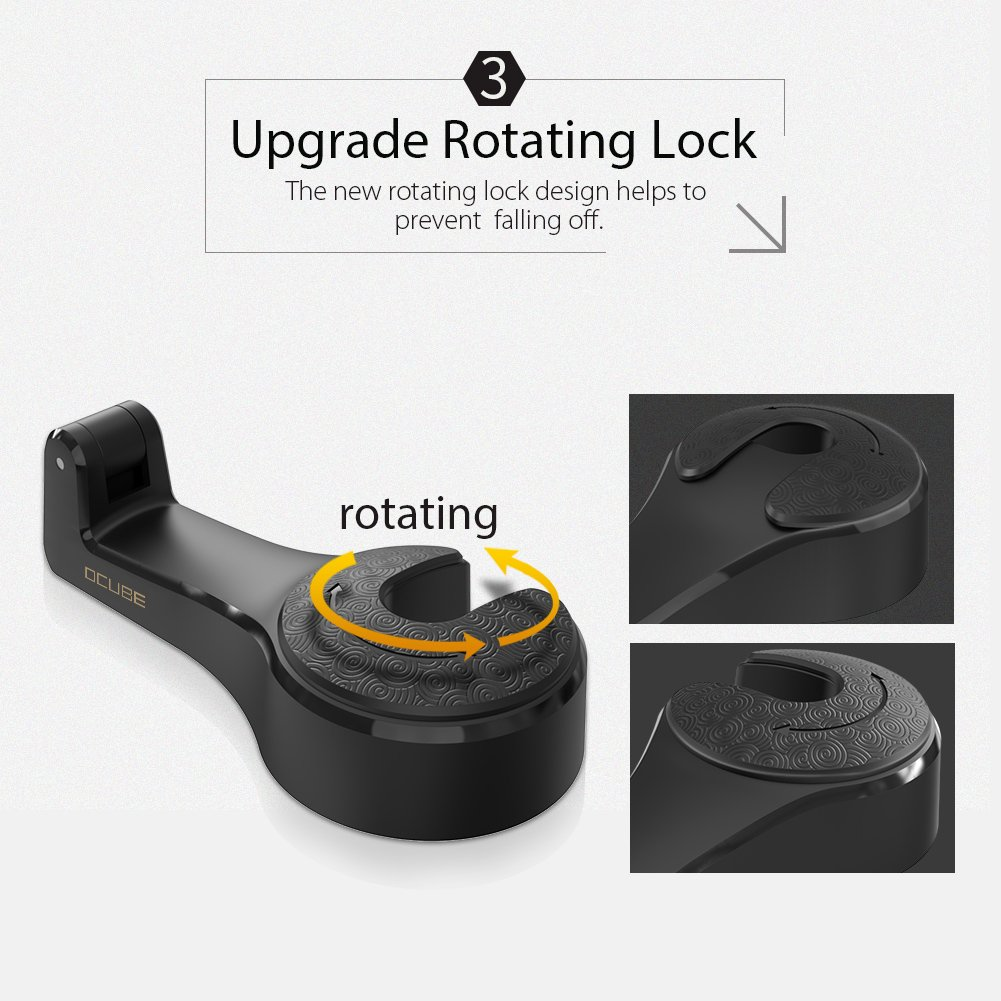Cloth 2 Pack Grocery-Black /… O-HK-B Universal Vehicle Car Headrest Hooks Hanger with Lock and Phone Bracket for Holding Phones and Hanging Bag Car Hooks Car Seat Back Hooks with Phone Holder,OCUBE Purse