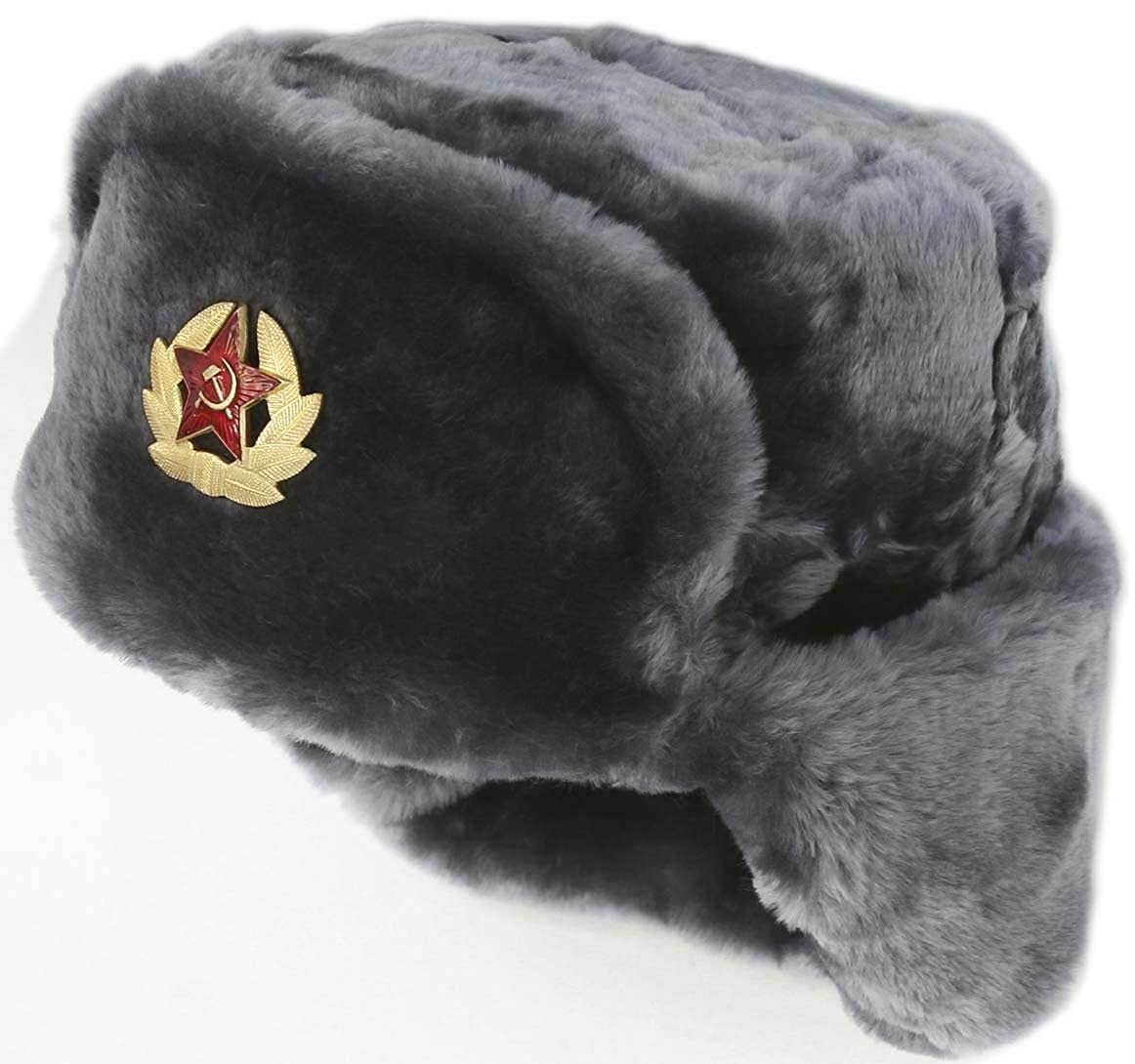 e60d004d47414 Hat Russian Soviet Army Black KGB Fur Military Cossack Ushanka Size L at  Amazon Men s Clothing store  Chinese Military Hat
