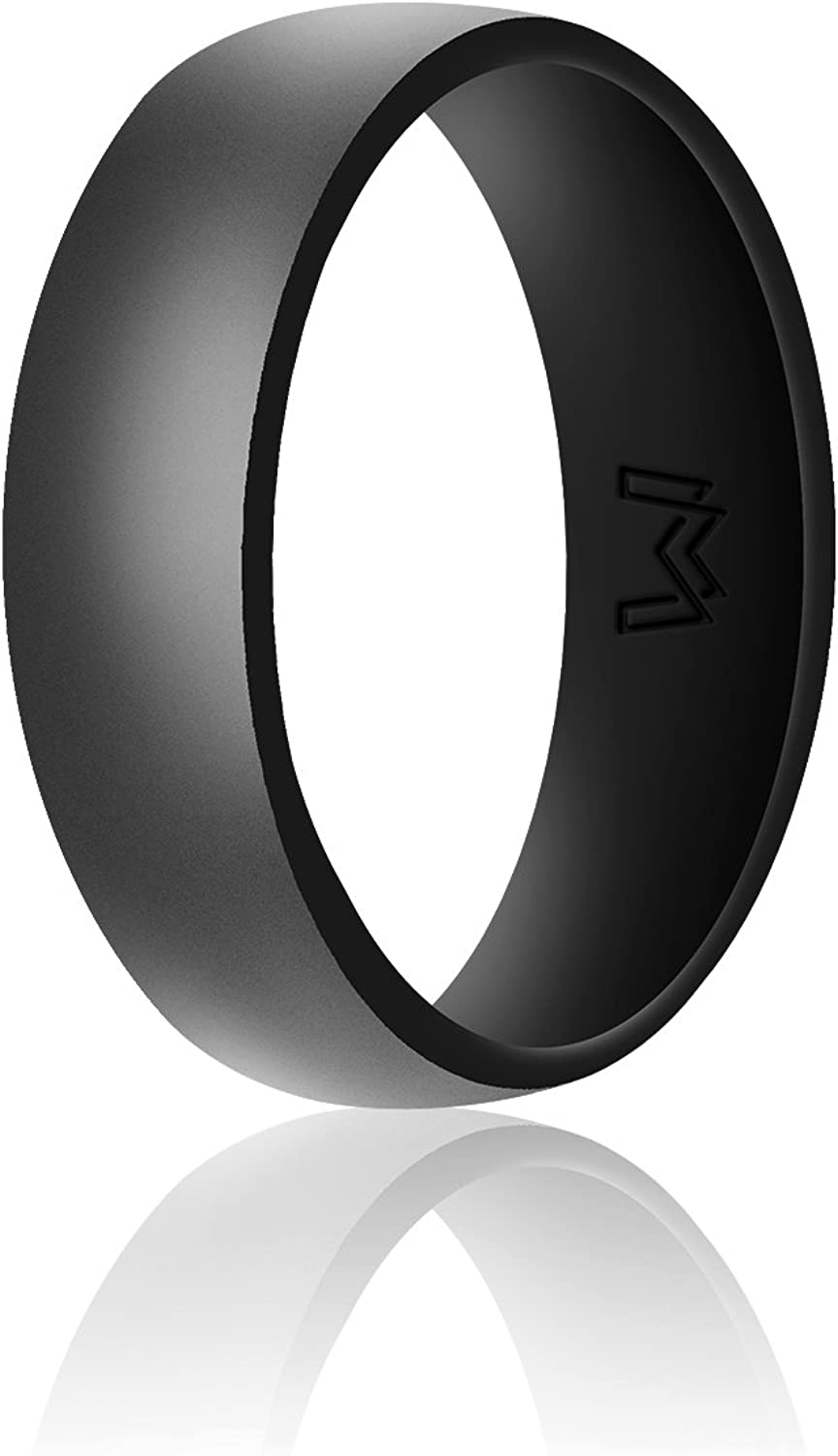 WIGERLON Mens Silicone Wedding Ring&Rubber Wedding Bands for Workout and Sports Width 8mm