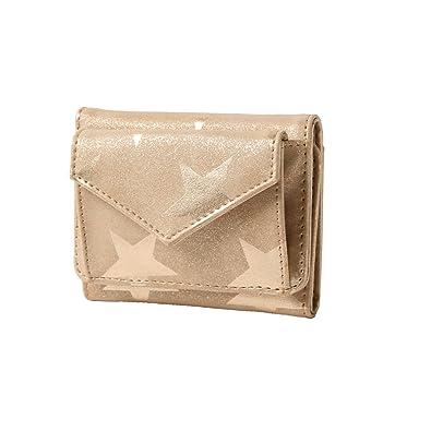 65bf4291da1d Amazon | JOKnet ミニウォレット レディース 財布 3つ折り 三つ折り ミニ財布 スター柄 星 プリント 薄型 小さい財布 サイフ  ウォレット ゴールド F | 財布
