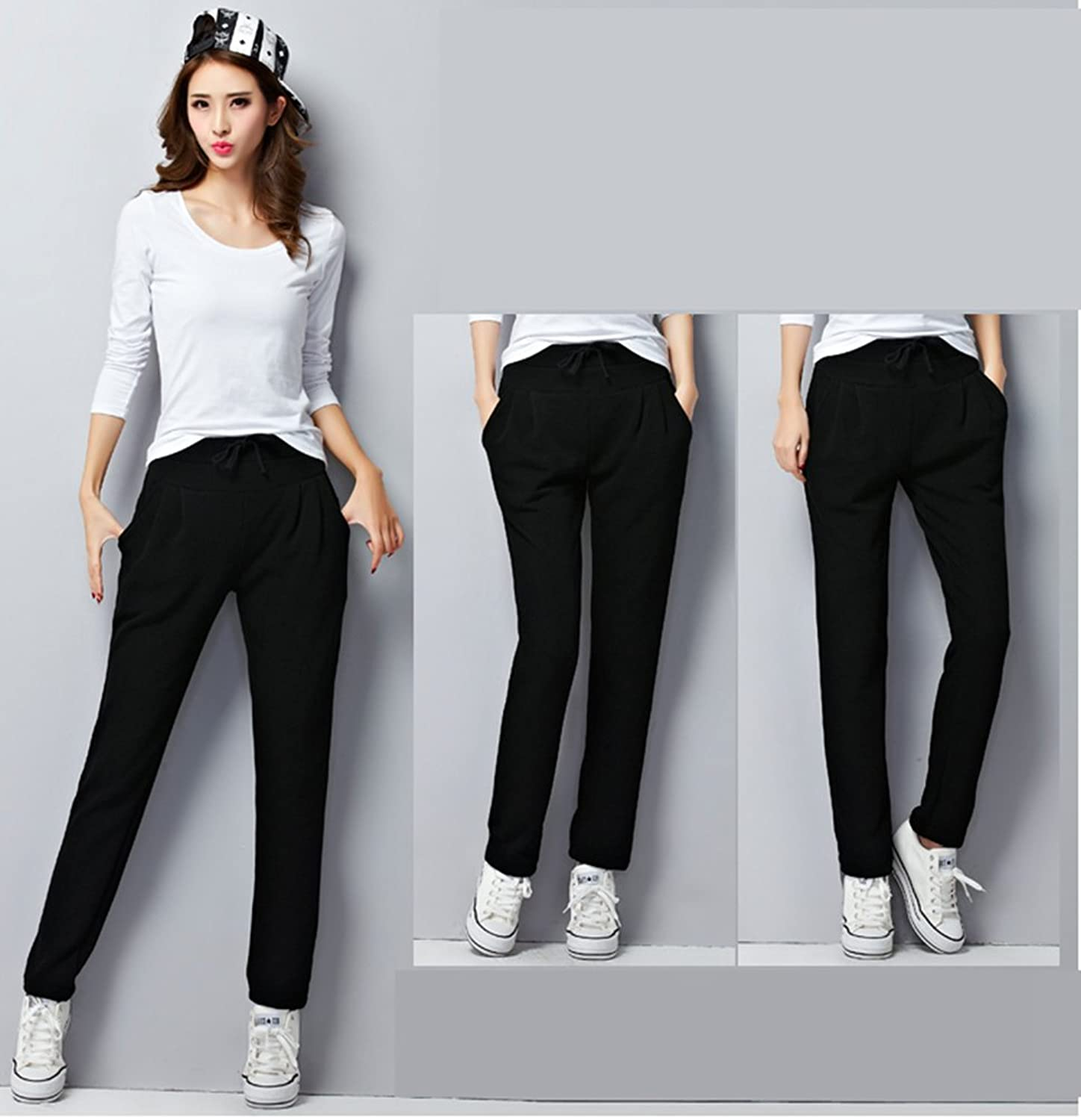 YAANCUN Ladies Womens Elasticated Winter Warm Trouser Stretch Waist Casual  Loose Trousers Sports Pants with Pockets Plus Size: Amazon.co.uk: Clothing