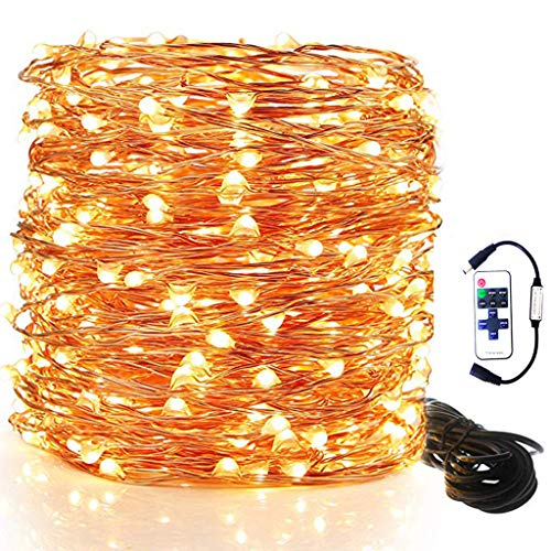 FZZ698 100 Super Bright Warm White Color Led Color Led String Lights Create Amazing Atmosphere Great for Birthdays, Weddings, Dinner Party, Girl'S Night in, Bedrooms, Garden,10M (Yellow) from FZZ698