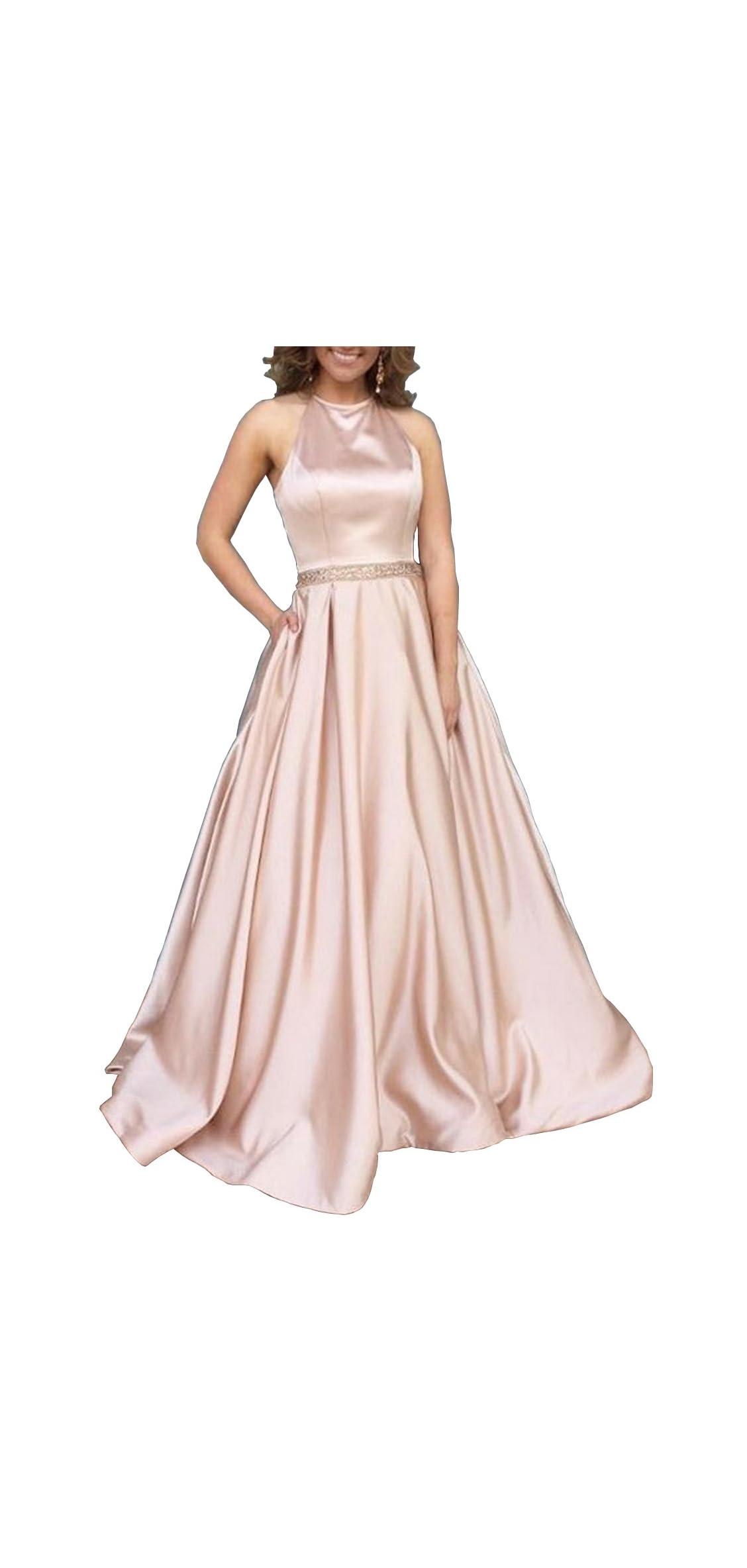 Women's Halter A-line Beaded Satin Evening Prom Dress Long Gown