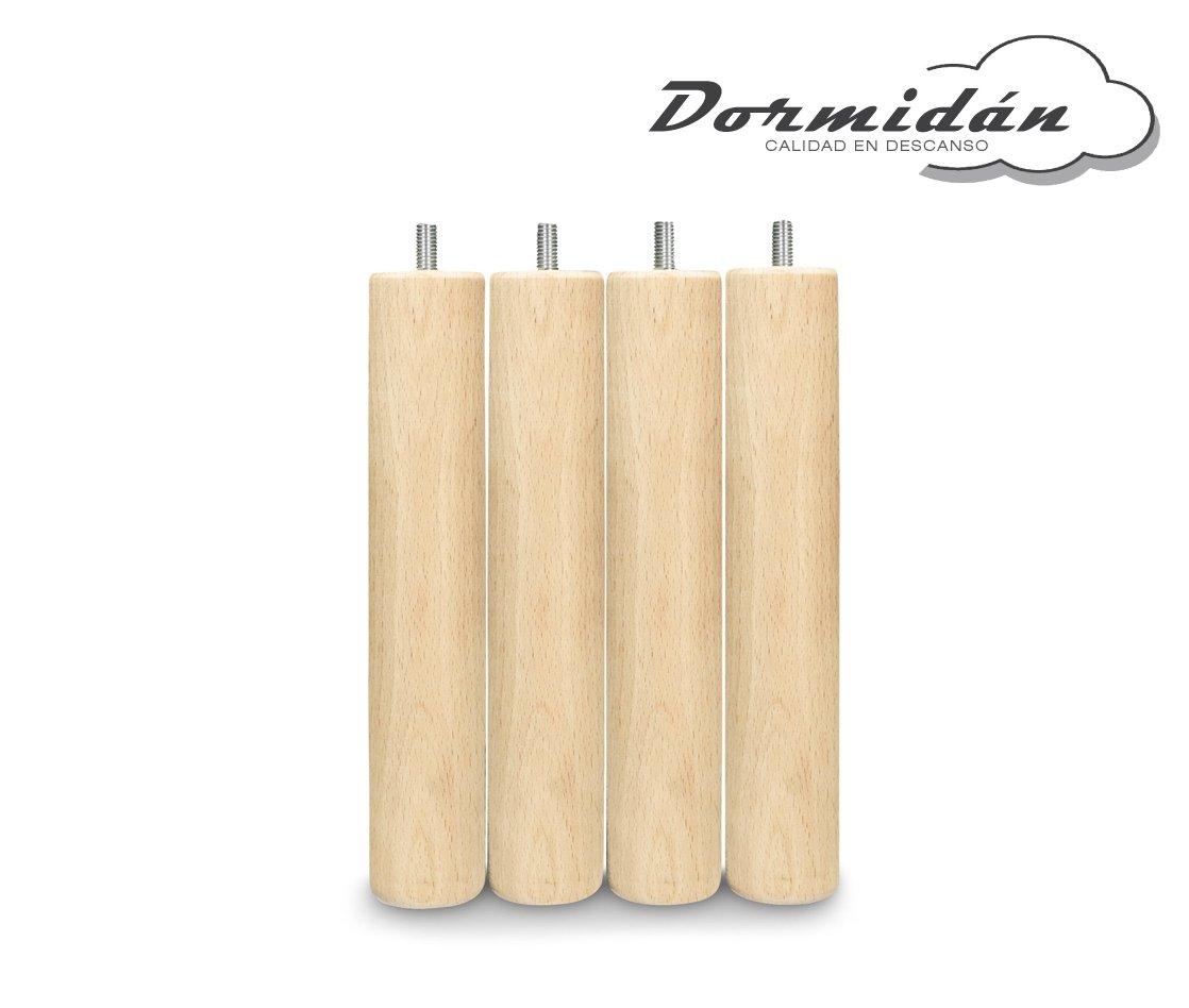 Dormidán - Patas redondas de madera, (6 unidades)  métrica 10 para somier o base tapizada color ... (Plata): Amazon.es: Hogar