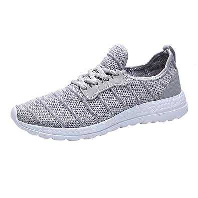FNKDOR Unisex Turnschuhe Atmungsaktives Mesh Freizeitschuhe Herren Damen  Leichte Sport Sneaker(36,Grau)