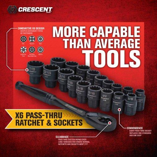 037103263438 - Crescent CX6PT20 X6 Pass-Through Ratchet and Sockets, 20-Piece carousel main 2
