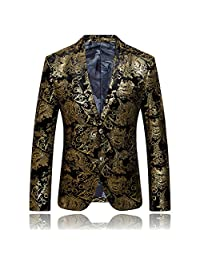 ONCEGALA Men's Luxury Casual Dress Suit Slim Fit Stylish Blazer