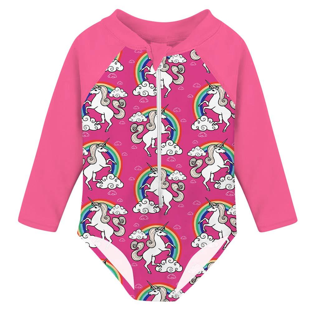 uideazone Little Girls Rashguard Swimsuit with UPF 50 One Piece Long Sleeve Zipper Beach Bathing Suit Swimwear 1-5 Years
