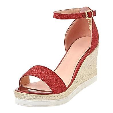 YE Wedges Sandaletten High Heels Plateau Sandalen mit Keilabsatz Glitzer Damen Sommer Schuhe