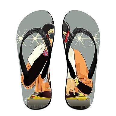 79c37eeb665b Creative Cool DJ Lovers Unisex Comfortable Beach Flip Flops Sandals  Slippers Sandal For Home   Beach