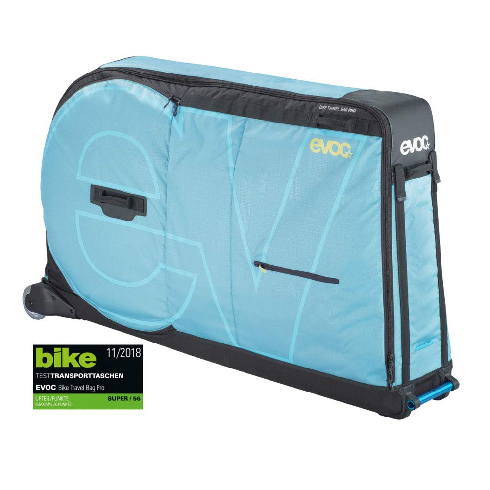 EVOC Bike Travel Bag Pro, Aqua Blue, Includes Bike Stand, Clip-On Wheel 2.0 and Frame Pad