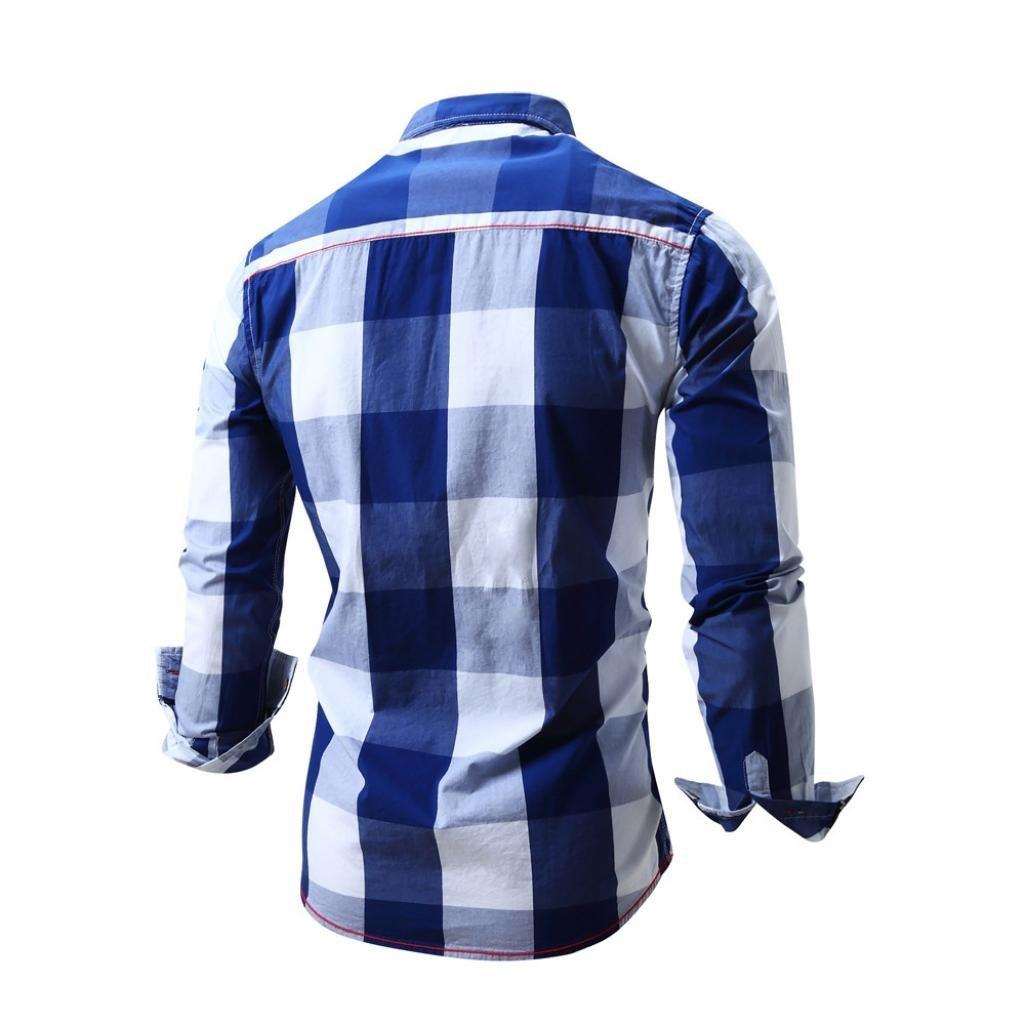 Camisa a Cuadros de Hombres Manga Larga sin Hierro Blusa Casual Top Entallado de Algodón Entallado by Manadlian: Amazon.es: Ropa y accesorios