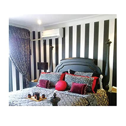 Wallpaper Modern Smoother Decal Vinyl Black And White Stripes Home