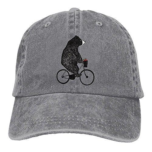 (NavyLife Unisex Ride A Bicycle Bear Apple Washed Cotton Denim Baseball Cap Vintage Adjustable Dad Hat for Men Women)