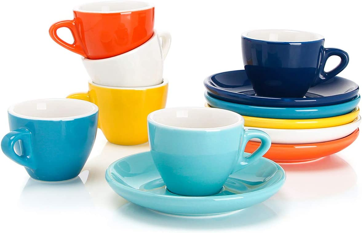 Set of 6 Sweese 4304 Porcelain Espresso Cups with Saucers 2 Ounce White