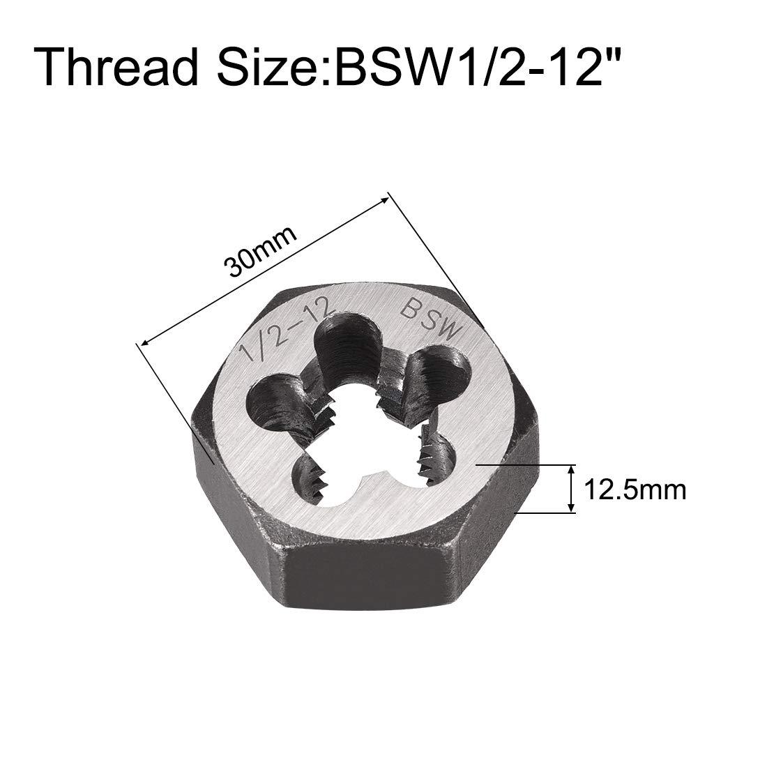 sourcing map BSW 1//2-12 passo Destro filettatura esagonale dado HSS acciaio rapido