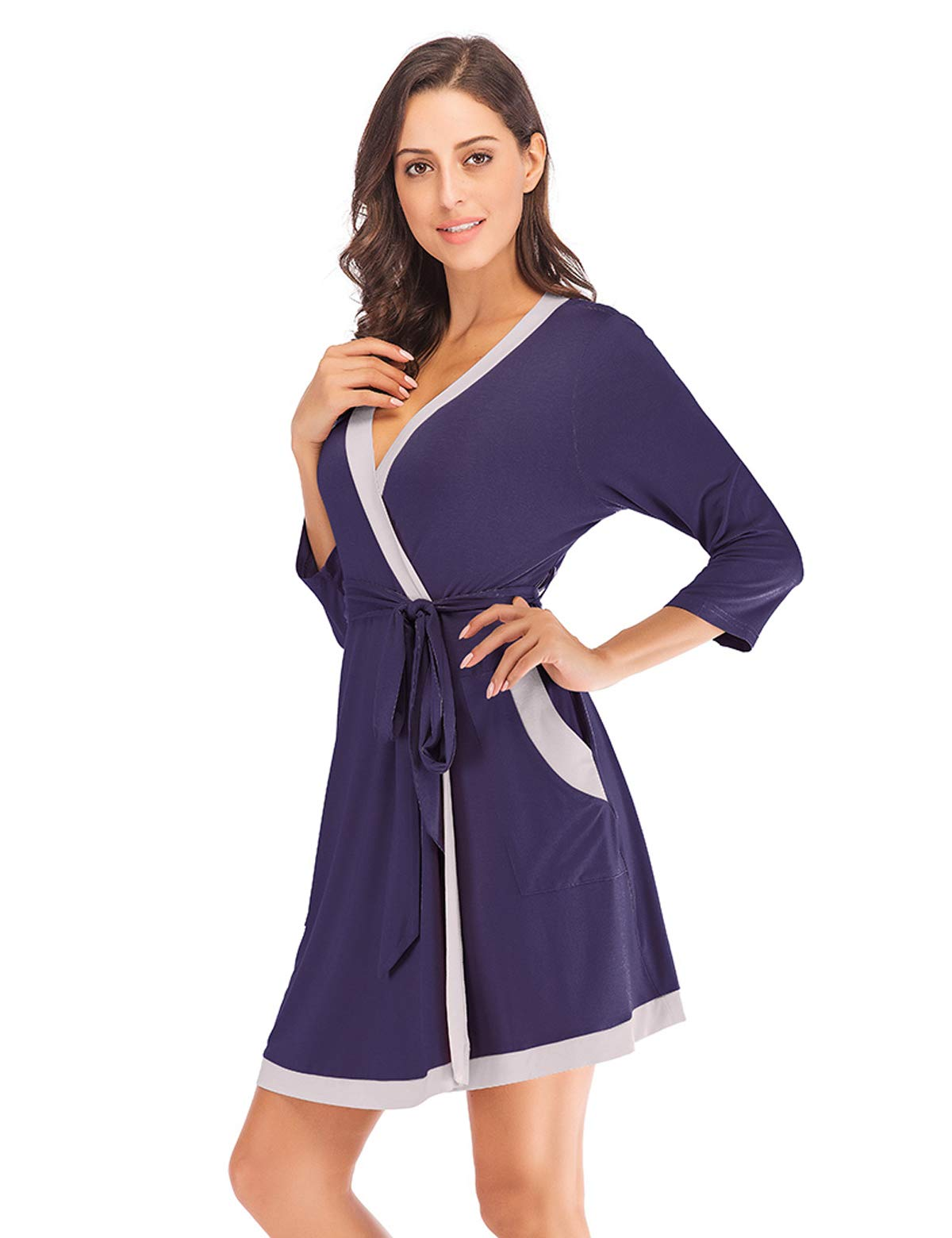 Navy Blue Short Cotton Bathrobe Sleepwear Nightgown Pajama for Women (NB_M)