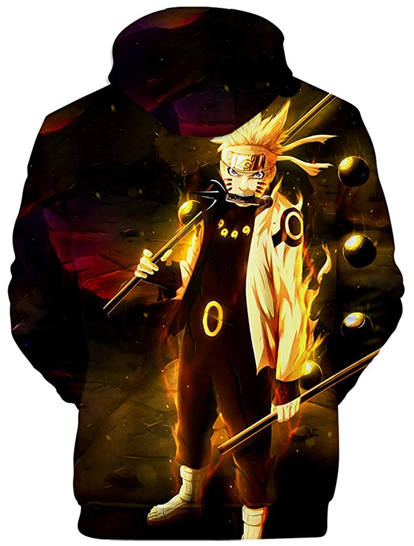 Silver Basic Mens Novelty Hoodies Sweatshirt with The Japanese Anime Naruto Autumn Outerwear