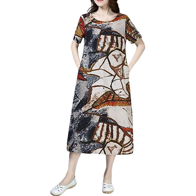 Amazon.com: Vestido con cuello en O para mujer, de algodón y ...