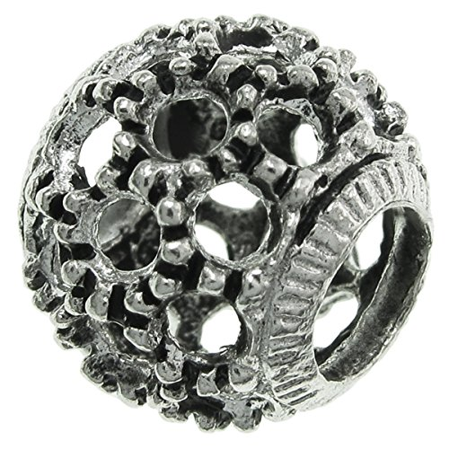 925 Sterling Silver Round Bali Filigree Net Bead For European Charm Bracelets (Round Sterling 925 Mesh Silver)