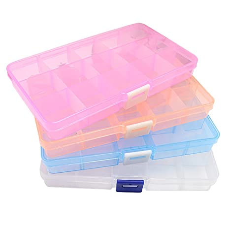 Amazoncom EsOfficce 15Grid Storage Box Adjustable Clear Desk