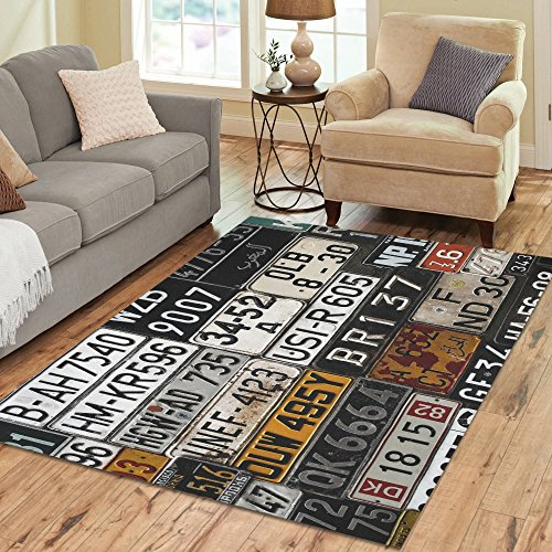 INTERESTPRINT Various Old Car License Area Rug Carpet 7 x 5 Feet, Retro Modern Floor Rugs Mat for Office Home Living Dining Room Decoration