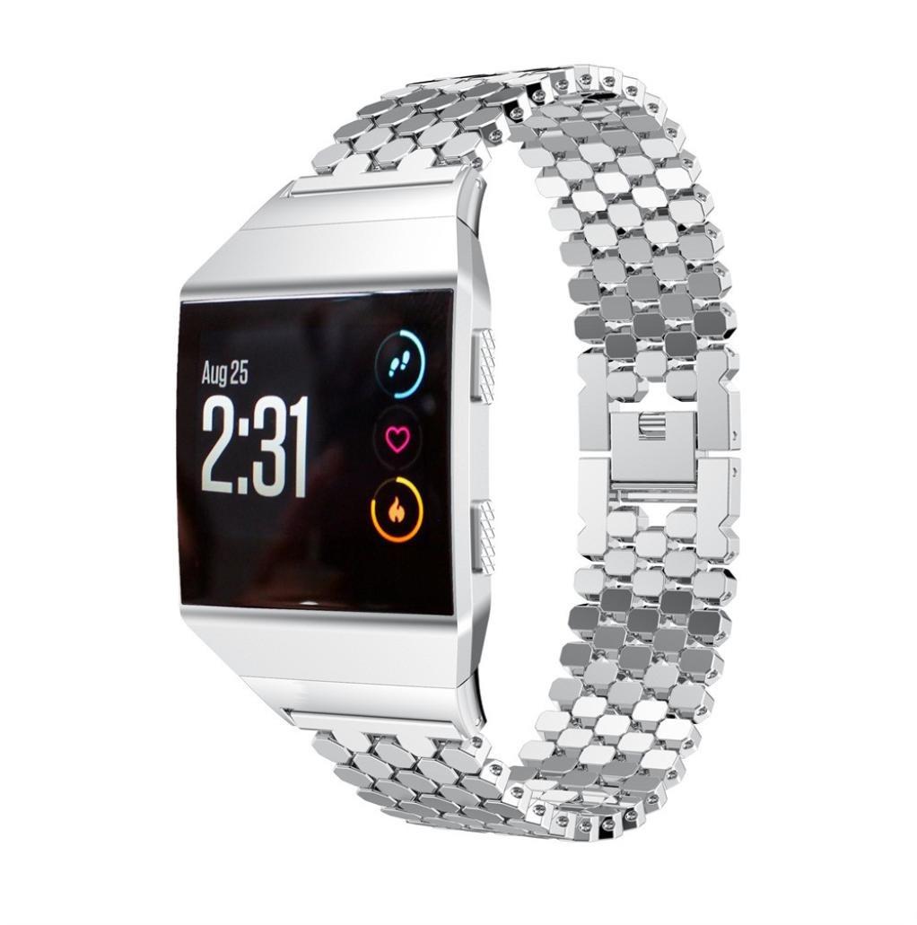 For Fitbit Ionicソリッドステンレススチール交換アクセサリー腕時計バンドストラップフィットネス用メタルバンドFitbit Ionic シルバー シルバー B0769CHNVS