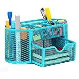 VANRA Metal Mesh Desk Supply Caddy Desktop Office Supplies Organizer Supply Holder 8 Compartments with Drawer (Blue)