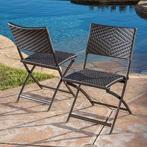 Folding Wicker - Great Deal Furniture (Set of 2) Jason Outdoor Brown Wicker Folding Chair