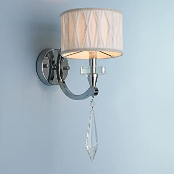 Worldwide Lighting Gatsby Collection 1 Light Arm Chrome Finish and Clear Crystal Wall Sconce with White Fabric Shade 6 W x 16 H Small
