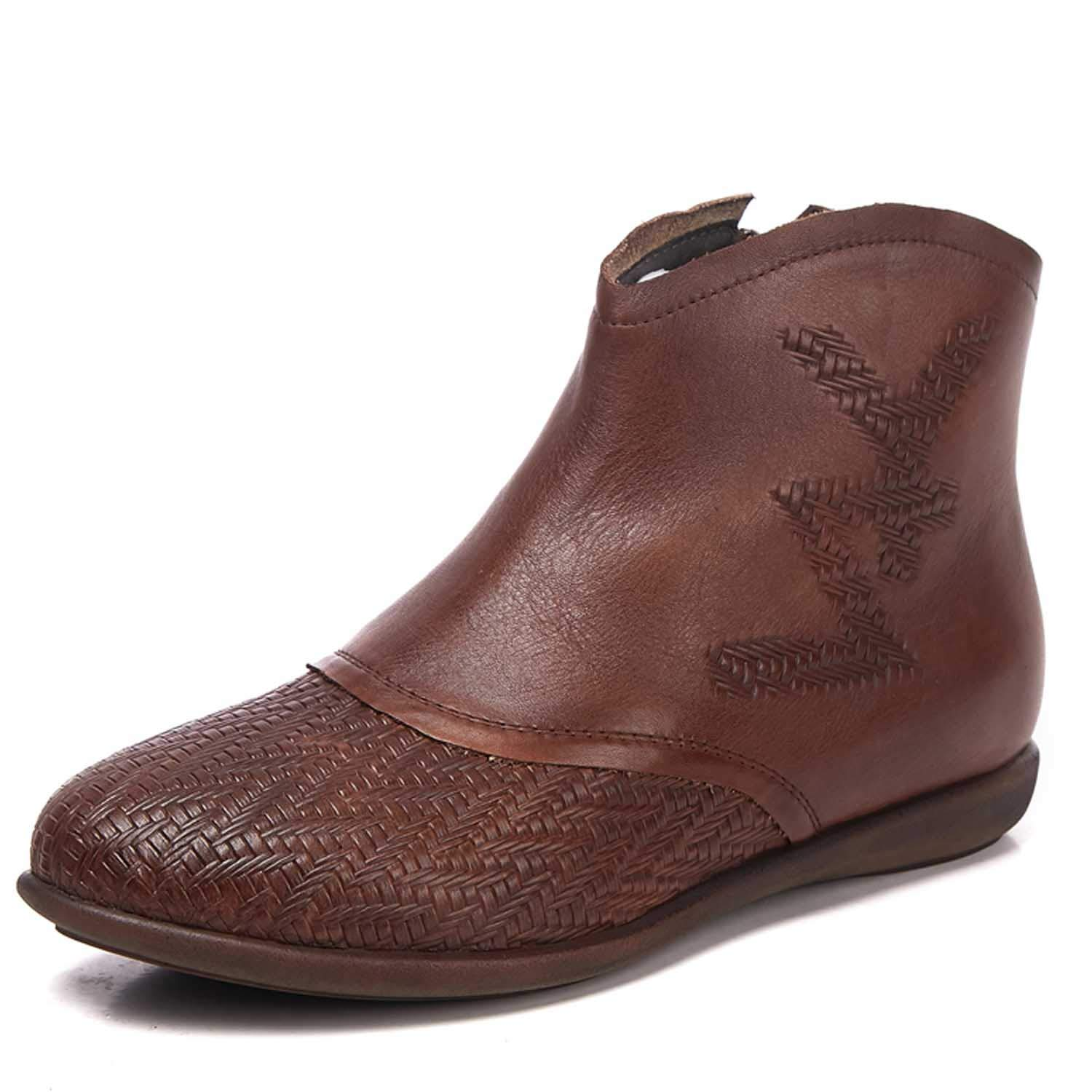 - Women's Leather Ankle Boots, Vintage Martin Boots Rubber Sole Brown Size 35-40