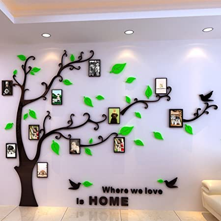 Acrylic 3d Vinyl Wall Family Tree With Frames For Family Photos