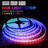 KORJO 16.4ft (5m) RGB LED Strip Light 300 LEDs 5050 Waterproof Flexible Color Changing DC 24V Rope Light for Ceiling, Porch and Cabinet