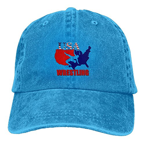 Arsmt USA Wrestling Denim Hat Adjustable Plain Baseball Caps by Arsmt