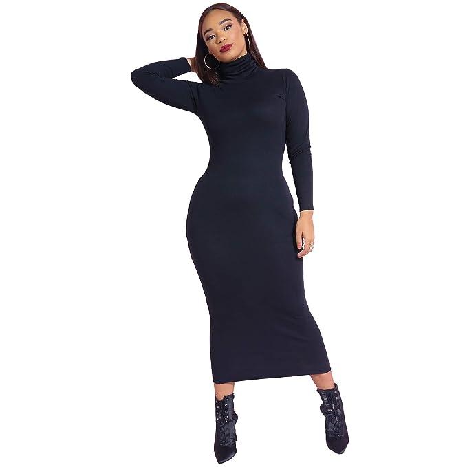 Rebdolls Women\'s Casual Turtleneck Body Conscious Long Sleeve Maxi Dress -  Plus Sizes