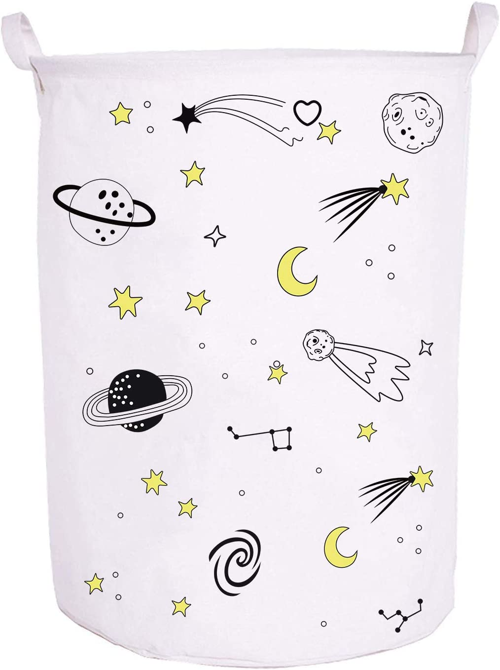 "Runtoo 19.7"" Large Sized Laundry Hamper Waterproof Foldable Canvas Outer Space Theme Bucket Clothing Laundry Basket with Handles for Storage Bins Kids Room Home Organizer Nursery Storage Baby Hamper"