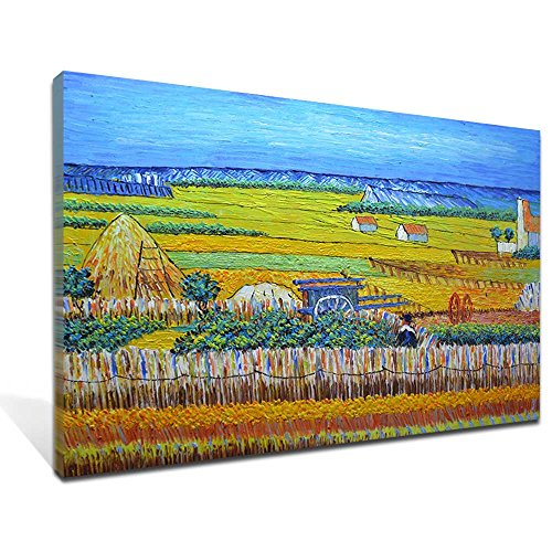 Asdam Art (100% Hand painted 3D) Harvest by Van Gogh Famous Oil Paintings Reproduction Modern Landscape Canvas Artwork Rural Yellow Fields Pictures for Living Room Wall Art Home Decorations(24x36inch) by Asdam Art