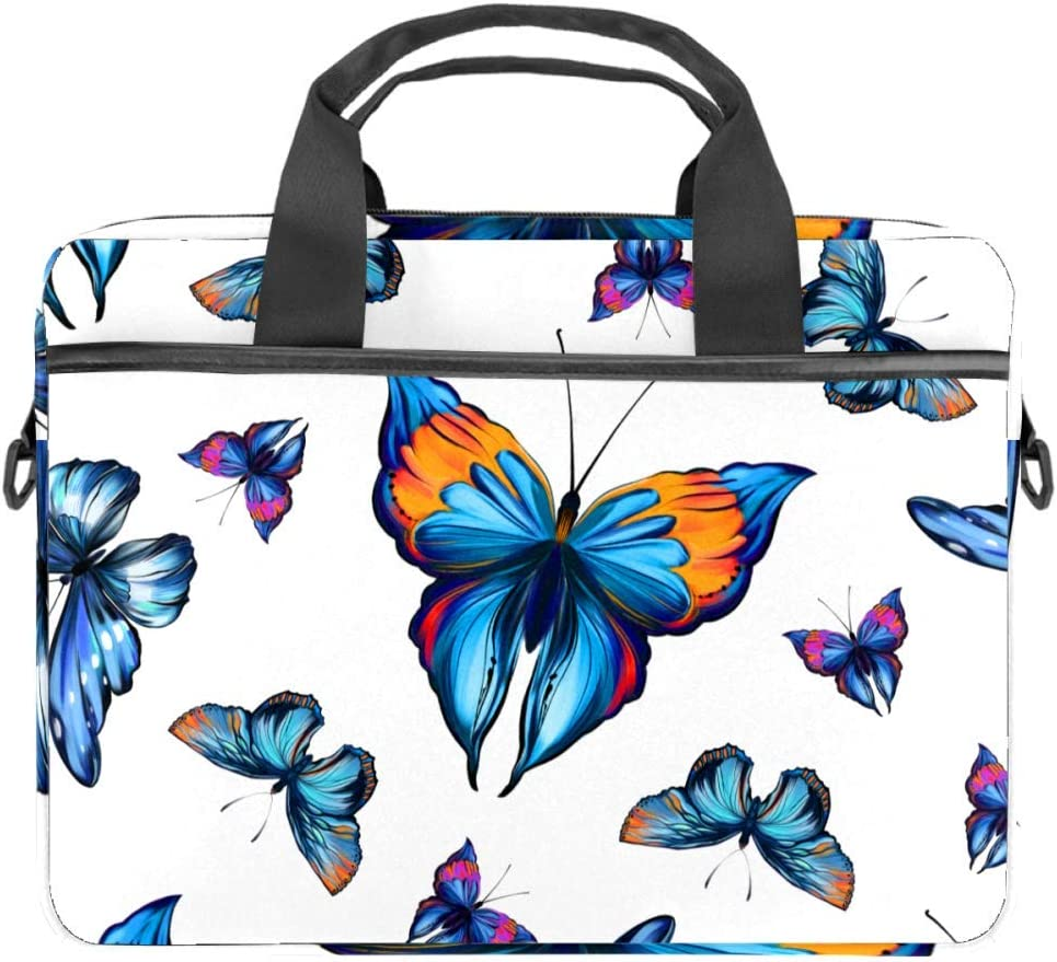 Laptop Bag Satchel Tablet Sleeve Business Shoulder Bag Document Handbag Messenger Bag Briefcase 15x5.4 Inch Beautiful Blue Butterfly Tropical