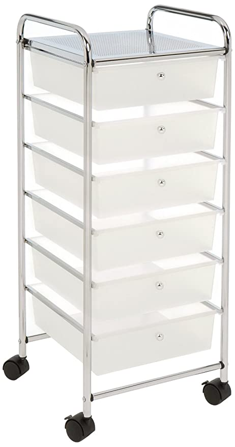 Seville Classics Large 6 Drawer Storage Bin Organizer Cart, Frosted White