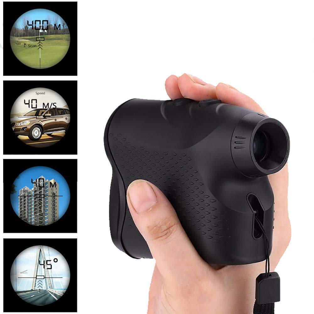 JGCJYYH Golf Range Finder,400M 6 X Magnification IP54 Waterproof with Flag-Lock,Fog,Hunting,Distance Speed and Continuous Scan Measure Function by JGCJYYH