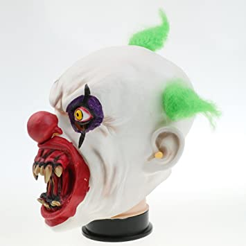 Gazechimp Máscara de Malvado Payaso de Látex con Boca Sangrienta de Bromista Decoración para Fiesta de