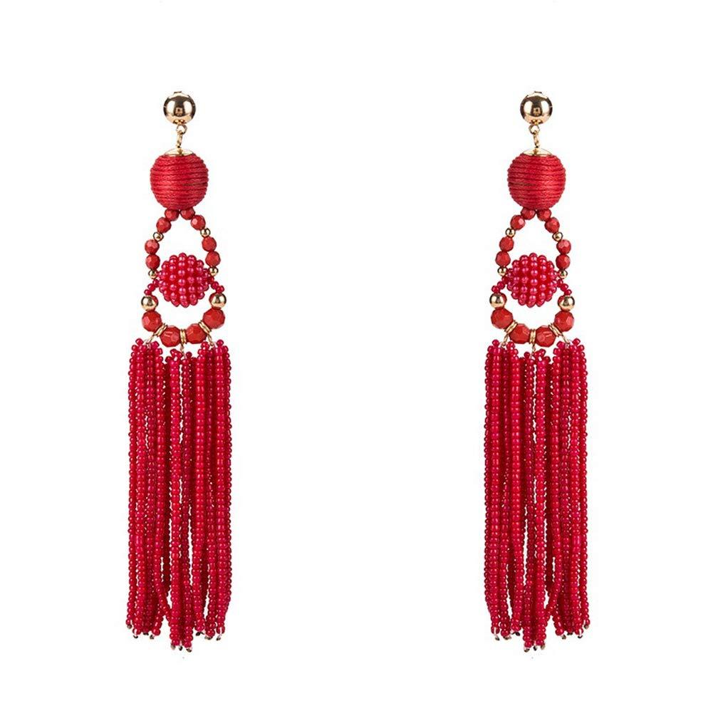 KissYan Thread Ball Beaded Tassel Dangle Earrings Long Fringe Drop Bohemian Statement Earrings Ball Ear Drops For Women Girls(Red)