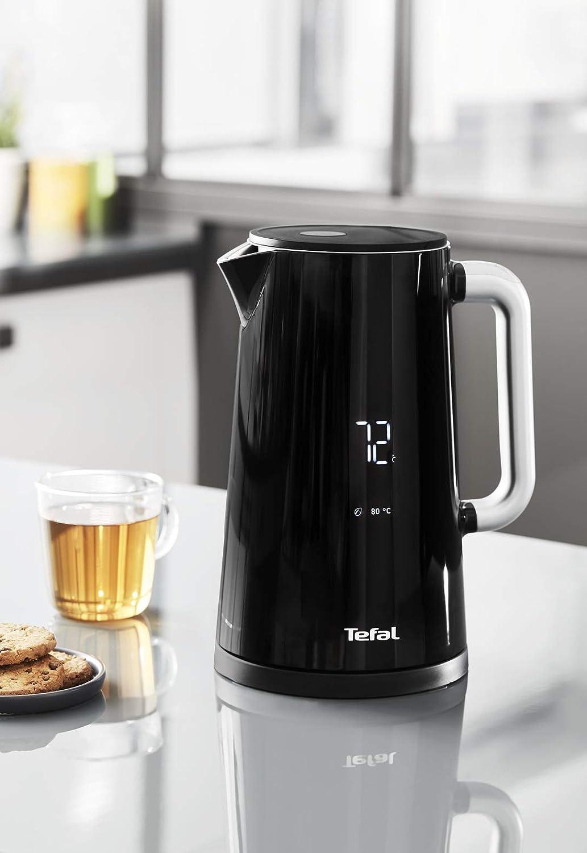 TEFAL SMART N' LIGHT 1.7L noir Bouilloire sans fil Thermostat réglable Affichage digital Touche rapide 100° Arrêt automatique KO850810